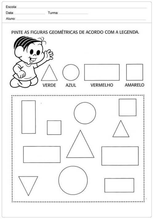 1) Pinte as figuras geométricas de acordo com a legenda.