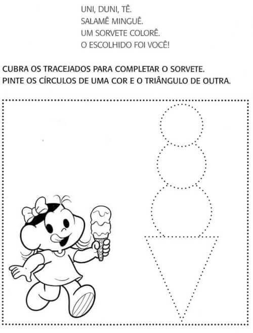 7) Atividade geométrica para imprimir, cubra os tracejados e pinte de cores diferentes.
