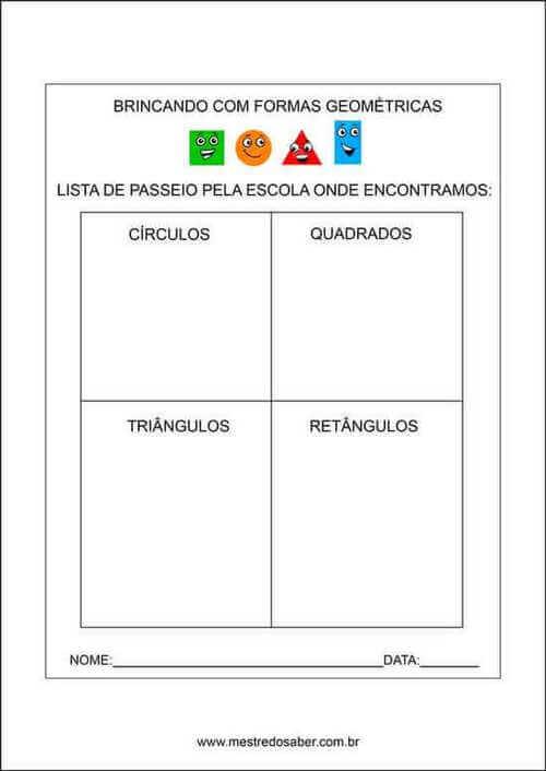 4) Atividade para encontrar formas geométricas no dia-a-dia.