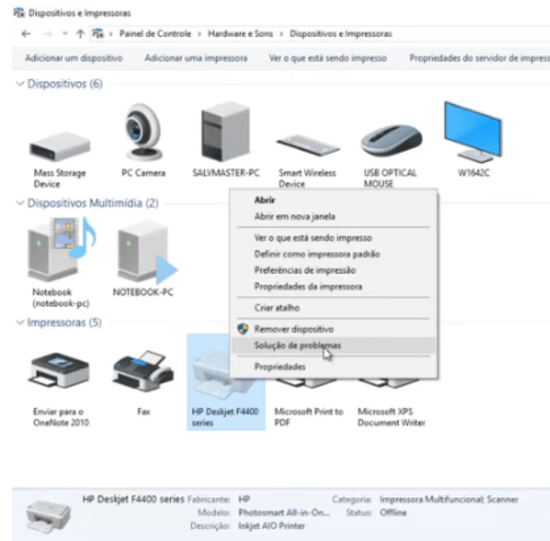 """10) Clique com o botão direito do mouse sobre a sua impressora e selecione a opção """"Solução de Problemas""""."""