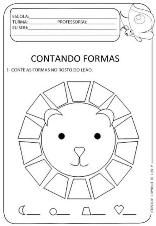 8) Nessa atividade conte quantas formas geométricas no leãozinho.
