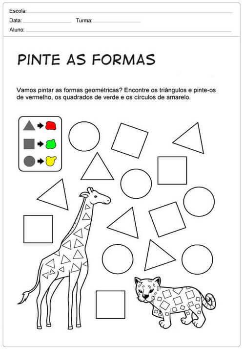 2) Pinte ás formas de acordo com o indicado.