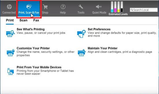 """4) Clique em """"Print, Scan & Fax""""."""