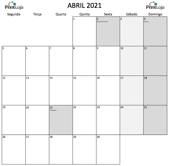 4) Calendário para imprimir Abril.