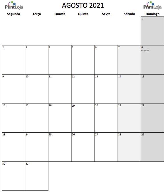 8) Calendário para imprimir Agosto.