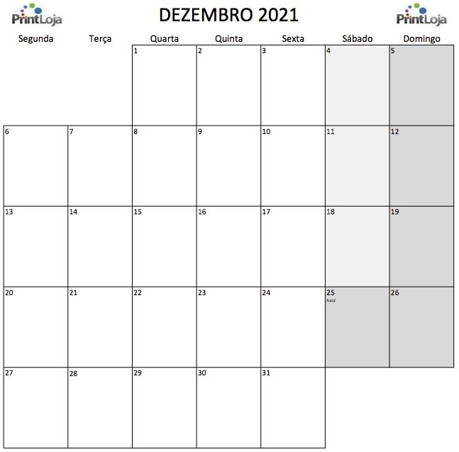 12) Calendário para imprimir Dezembro.