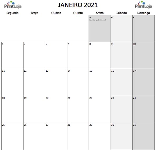 1) Calendário para imprimir Janeiro.