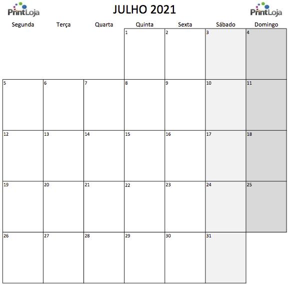 7) Calendário para imprimir Julho.