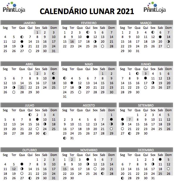 14) Calendário Lunar 2021 para download.