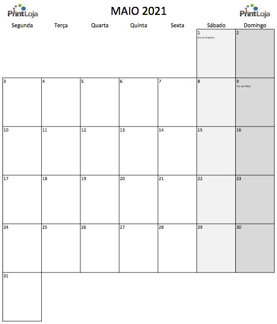 5) Calendário para imprimir Maio.
