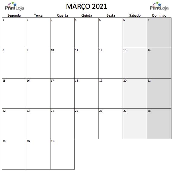 3) Calendário para imprimir Março.