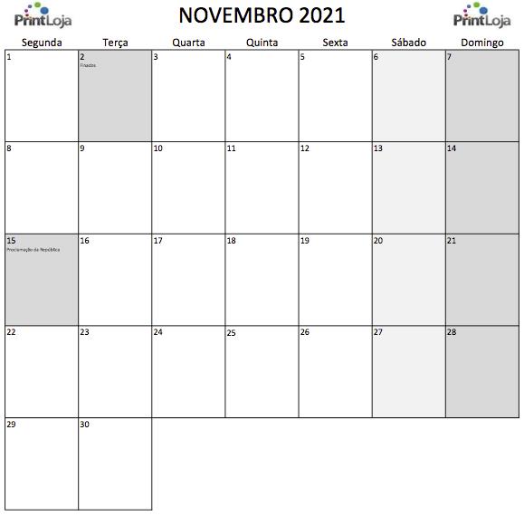 11) Calendário para imprimir Novembro.