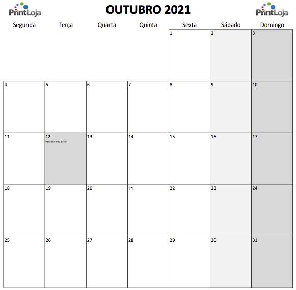 10) Calendário para imprimir Outubro.