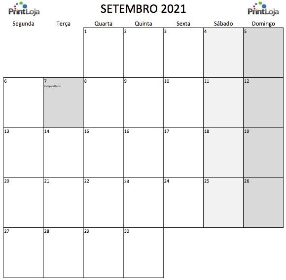 9) Calendário para imprimir Setembro.