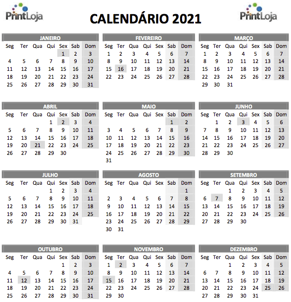 13) Calendário 2021 com todos os meses para download.