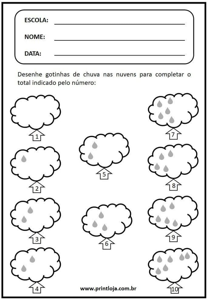 1) Atividade de matemática para imprimir, números e quantidades.