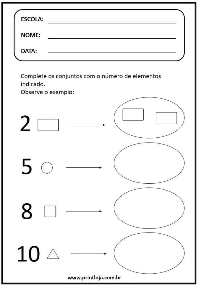 3) Atividade de matemática para imprimir, formas geométricas.