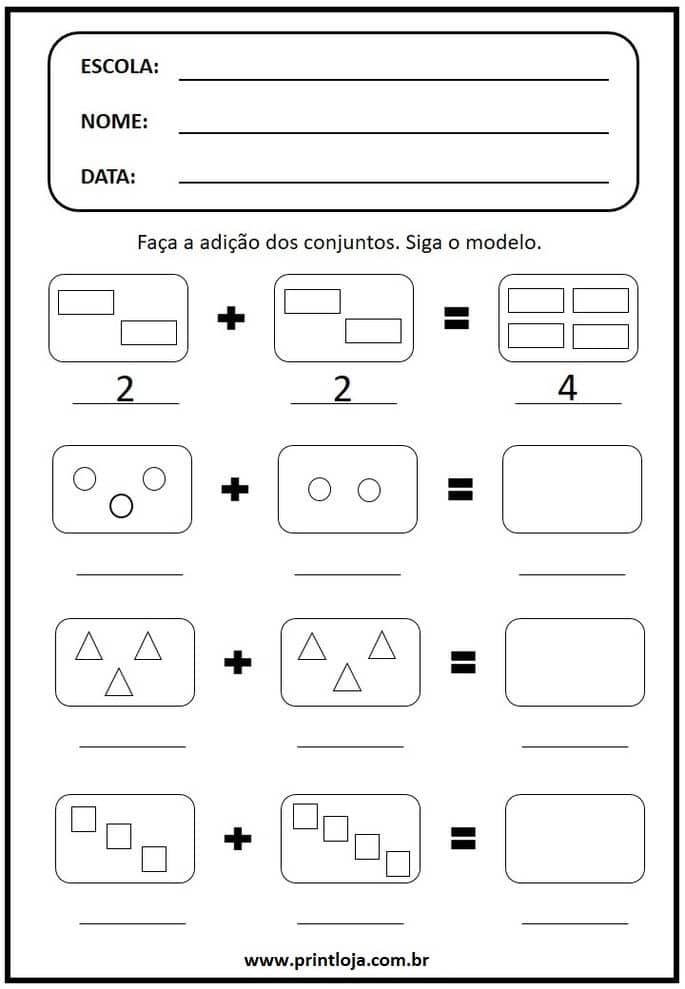 6) Atividade de matemática para imprimir, soma de conjuntos.