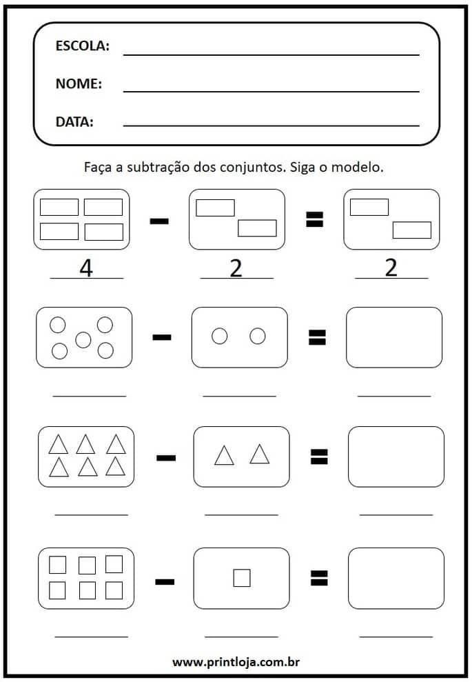 7) Atividade de matemática para imprimir, subtração de conjuntos.